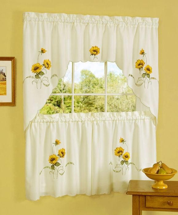 Sunshine Embellished Tier and Swag Window Curtain Set